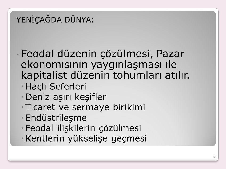 YENİÇAĞDA DÜNYA: ◦Feodal düzenin çözülmesi, Pazar ekonomisinin yaygınlaşması ile kapitalist düzenin tohumları atılır.