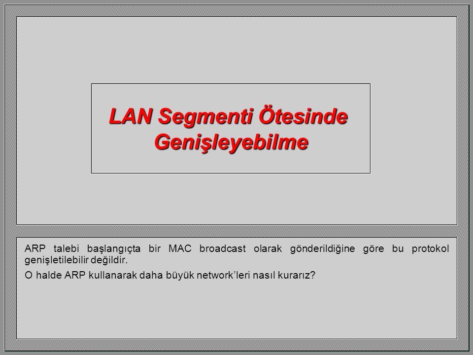 ARP işlemleri bittiğinde her iki host da ARP Cache'lerinde diğerinin IP ve MAC adreslerine sahip olacaktır. Bu makineler arasında olacak bundan sonrak