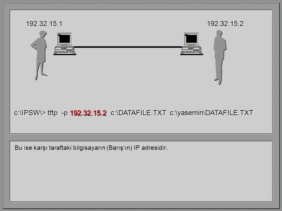 """""""-p"""" parametresi Yasemin'in diğer makineye dosya göndermek (""""put"""") istediğini gösterir. Buna karşı gelen parametre ise """"-g"""" (""""get"""") dir. 192.32.15.119"""