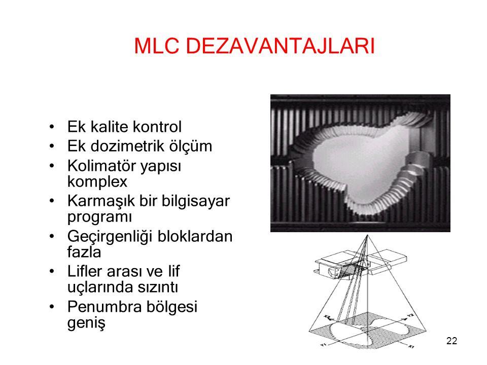 MLC DEZAVANTAJLARI Ek kalite kontrol Ek dozimetrik ölçüm Kolimatör yapısı komplex Karmaşık bir bilgisayar programı Geçirgenliği bloklardan fazla Lifle