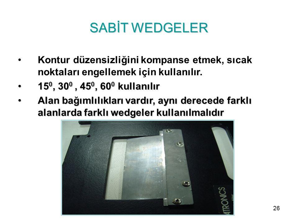 SABİT WEDGELER Kontur düzensizliğini kompanse etmek, sıcak noktaları engellemek için kullanılır. 15 0, 30 0, 45 0, 60 0 kullanılır15 0, 30 0, 45 0, 60