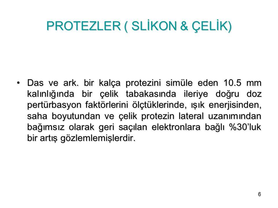 Klein ve Kluske meme dokusundan farklı atom numaralı fakat aynı yoğunluklu silikon protez yüzeylerinde doz farklılıkları rapor etmişlerdir.