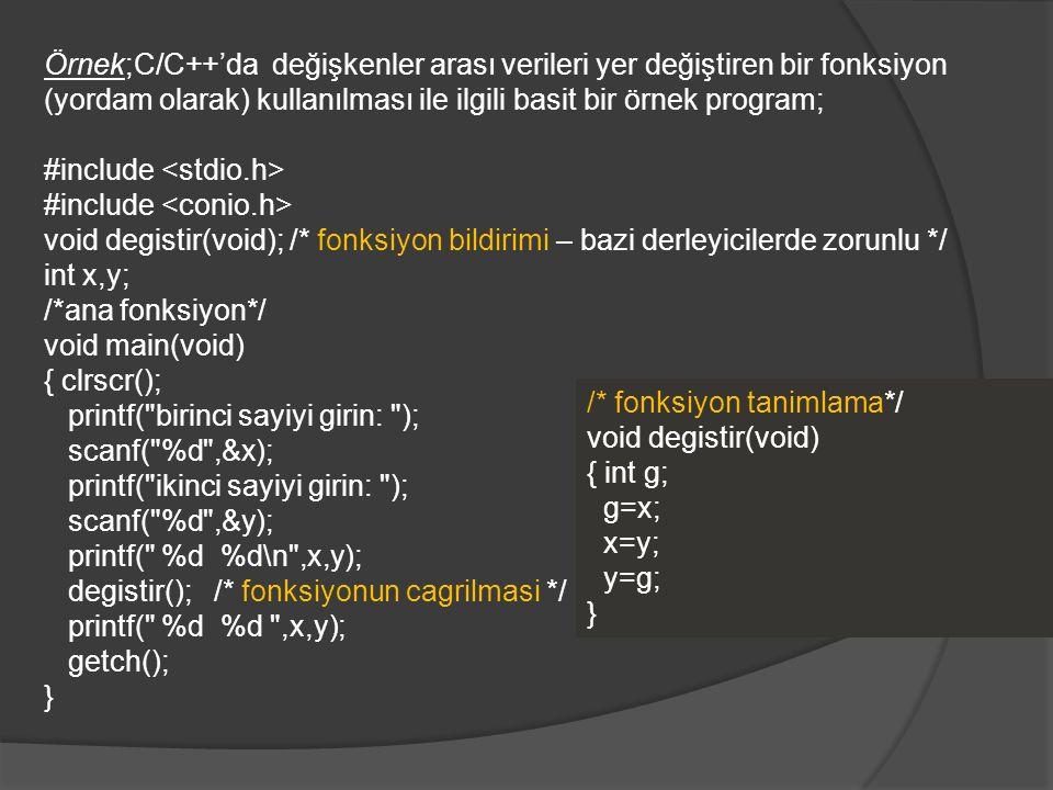 Örnek;C/C++'da değişkenler arası verileri yer değiştiren bir fonksiyon (yordam olarak) kullanılması ile ilgili basit bir örnek program; #include void degistir(void); /* fonksiyon bildirimi – bazi derleyicilerde zorunlu */ int x,y; /*ana fonksiyon*/ void main(void) { clrscr(); printf( birinci sayiyi girin: ); scanf( %d ,&x); printf( ikinci sayiyi girin: ); scanf( %d ,&y); printf( %d %d\n ,x,y); degistir(); /* fonksiyonun cagrilmasi */ printf( %d %d ,x,y); getch(); } /* fonksiyon tanimlama*/ void degistir(void) { int g; g=x; x=y; y=g; }