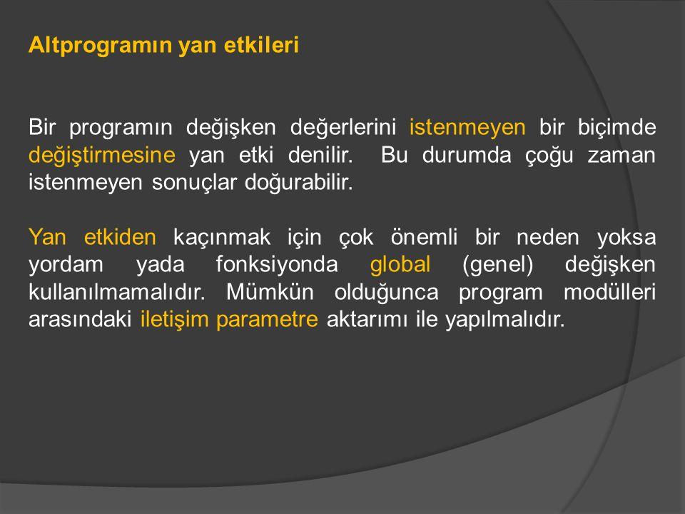 Altprogramın yan etkileri Bir programın değişken değerlerini istenmeyen bir biçimde değiştirmesine yan etki denilir.
