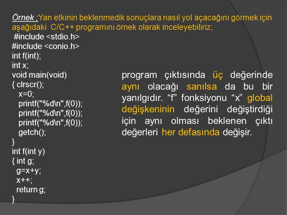 Örnek ;Yan etkinin beklenmedik sonuçlara nasıl yol açacağını görmek için aşağıdaki C/C++ programını örnek olarak inceleyebiliriz; #include int f(int); int x; void main(void) { clrscr(); x=0; printf( %d\n ,f(0)); getch(); } int f(int y) { int g; g=x+y; x++; return g; } program çıktısında üç değerinde aynı olacağı sanılsa da bu bir yanılgıdır.