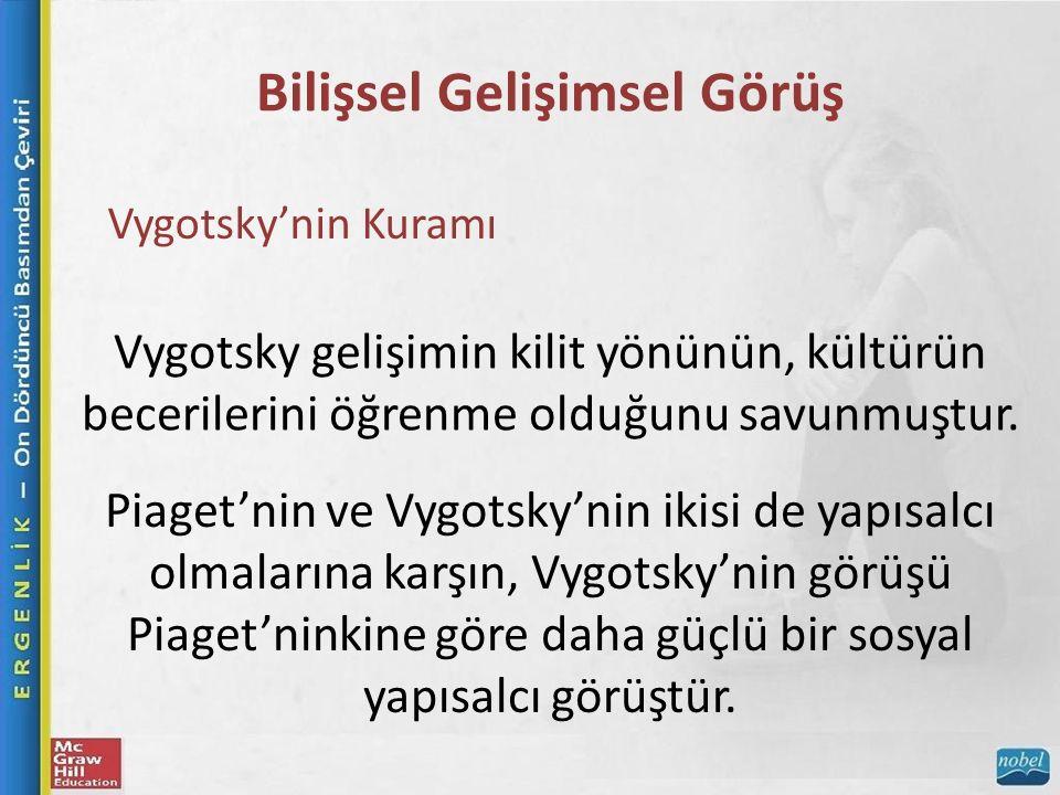 Bilişsel Gelişimsel Görüş Vygotsky'nin Kuramı Vygotsky gelişimin kilit yönünün, kültürün becerilerini öğrenme olduğunu savunmuştur.