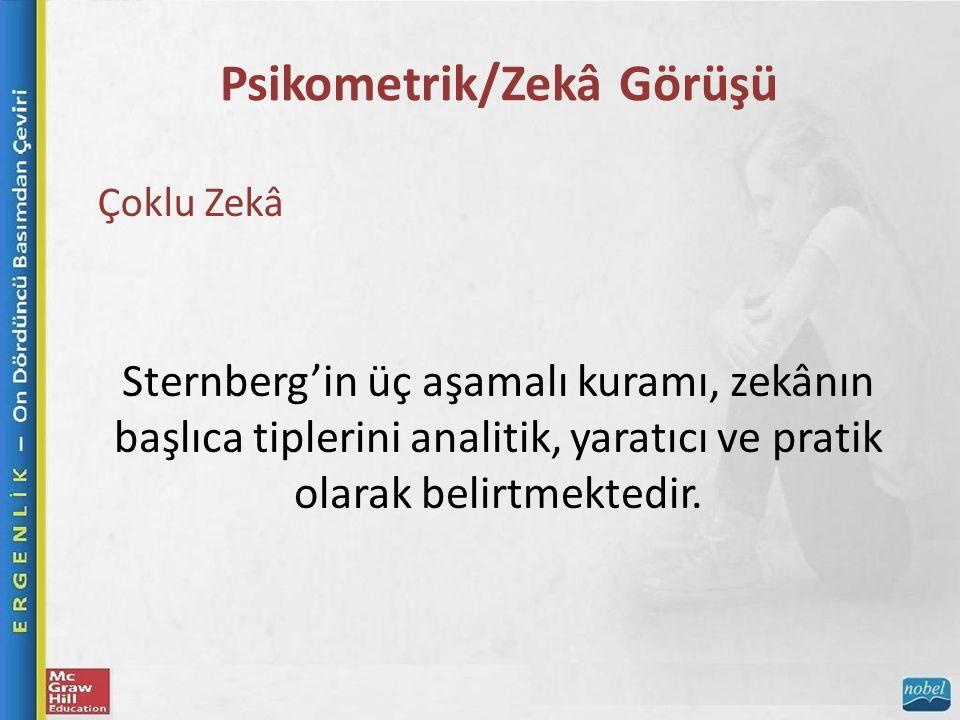 Psikometrik/Zekâ Görüşü Çoklu Zekâ Sternberg'in üç aşamalı kuramı, zekânın başlıca tiplerini analitik, yaratıcı ve pratik olarak belirtmektedir.