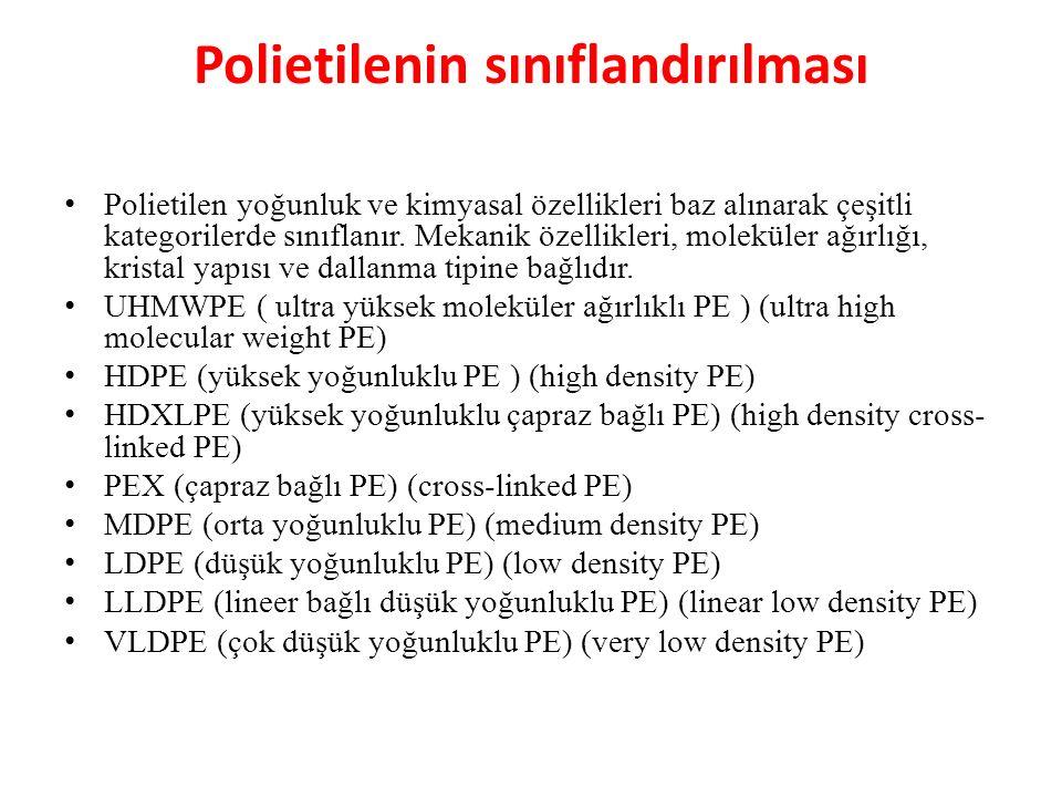 Polietilenin sınıflandırılması Polietilen yoğunluk ve kimyasal özellikleri baz alınarak çeşitli kategorilerde sınıflanır. Mekanik özellikleri, molekül