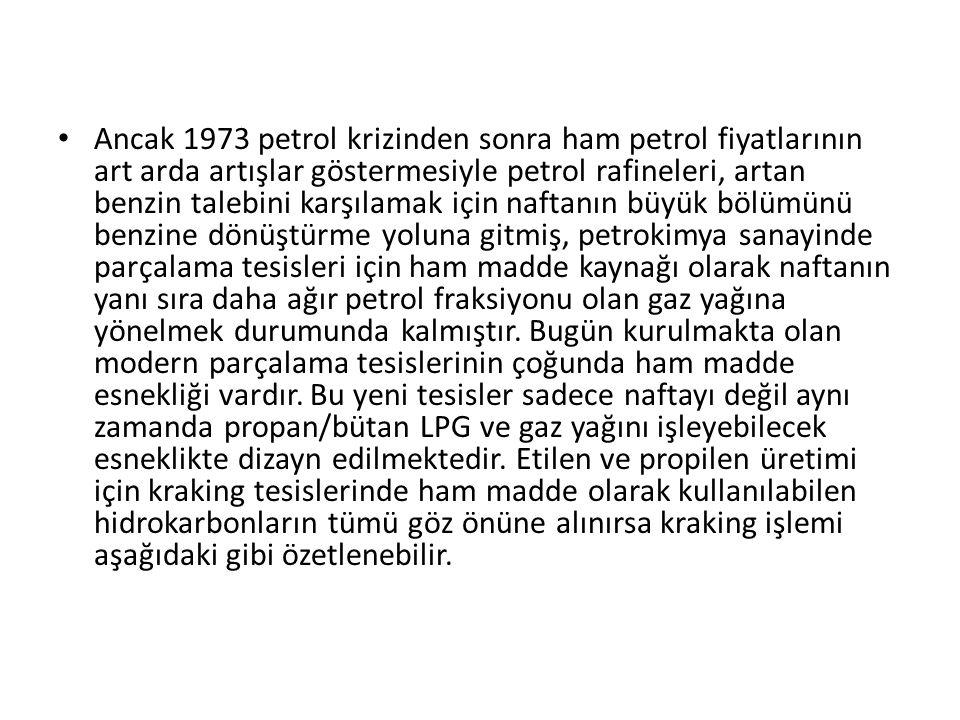 Ancak 1973 petrol krizinden sonra ham petrol fiyatlarının art arda artışlar göstermesiyle petrol rafineleri, artan benzin talebini karşılamak için naf