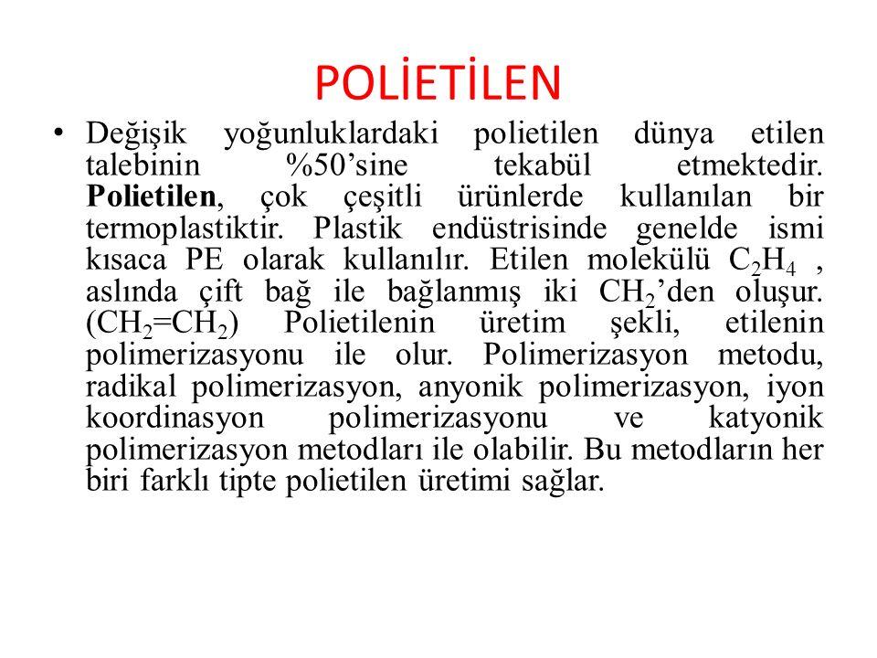 POLİETİLEN Değişik yoğunluklardaki polietilen dünya etilen talebinin %50'sine tekabül etmektedir. Polietilen, çok çeşitli ürünlerde kullanılan bir ter
