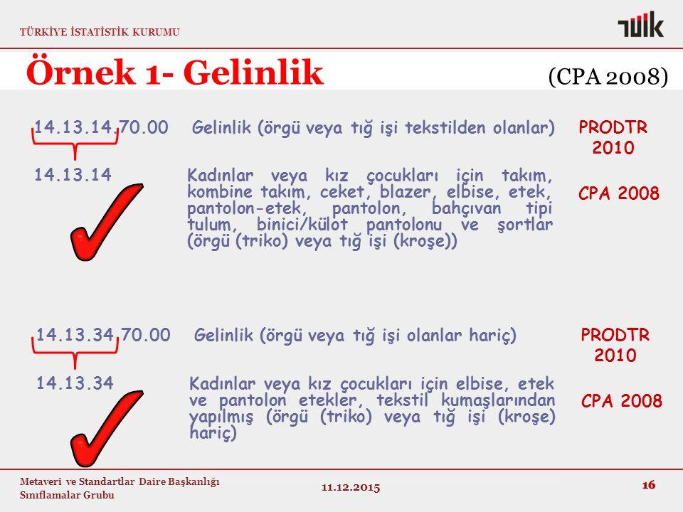 TÜRKİYE İSTATİSTİK KURUMU Metaveri ve Standartlar Daire Başkanlığı Sınıflamalar Grubu 14.13.34.70.00 Gelinlik (örgü veya tığ işi olanlar hariç) 14.13.