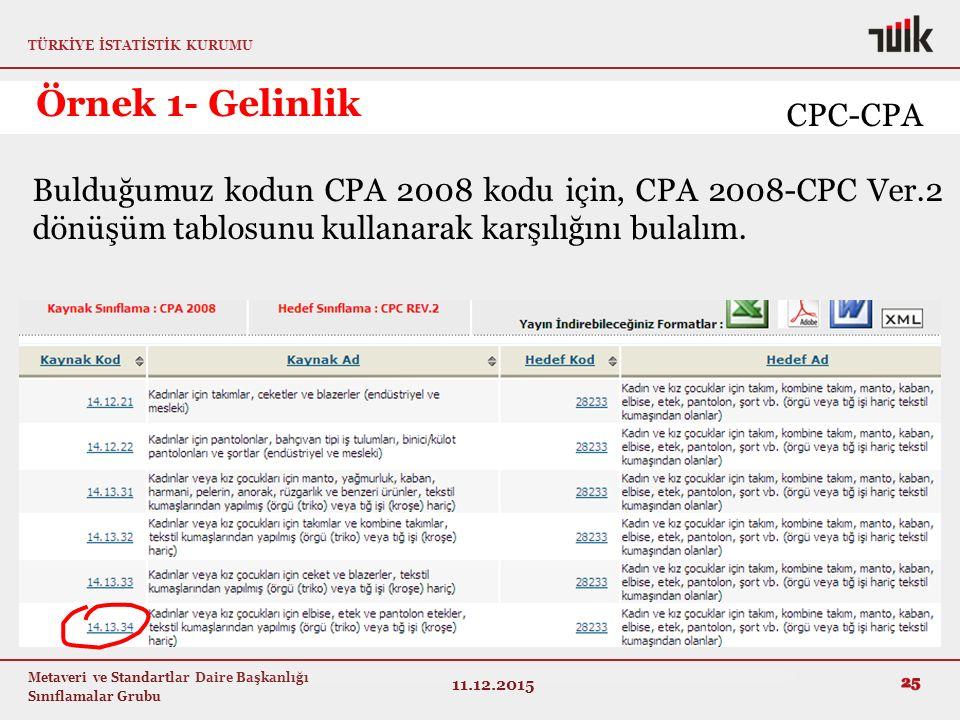 TÜRKİYE İSTATİSTİK KURUMU Metaveri ve Standartlar Daire Başkanlığı Sınıflamalar Grubu Örnek 1- Gelinlik 11.12.2015 25 Bulduğumuz kodun CPA 2008 kodu için, CPA 2008-CPC Ver.2 dönüşüm tablosunu kullanarak karşılığını bulalım.