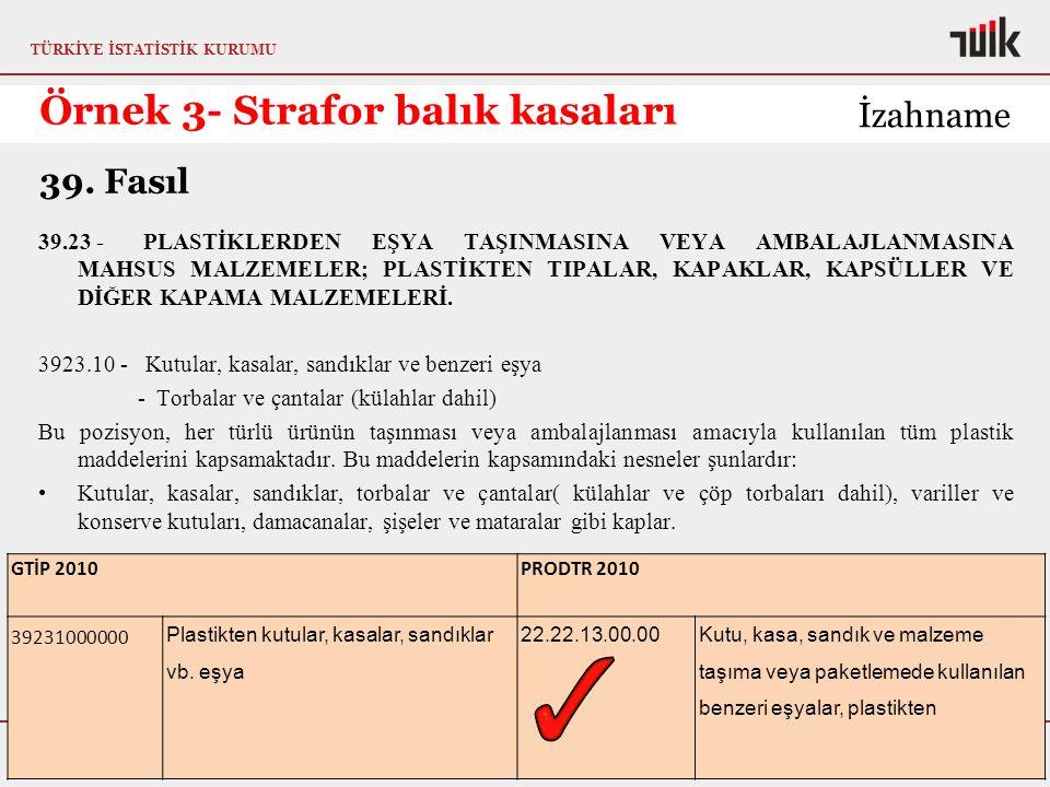TÜRKİYE İSTATİSTİK KURUMU Metaveri ve Standartlar Daire Başkanlığı Sınıflamalar Grubu Örnek 3- Strafor balık kasaları 11.12.2015 38 İzahname GTİP 2010