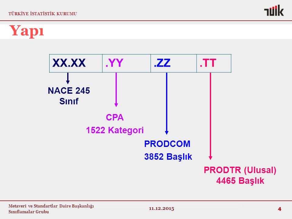TÜRKİYE İSTATİSTİK KURUMU Metaveri ve Standartlar Daire Başkanlığı Sınıflamalar Grubu XX.XX.YY.ZZ.TT 4 11.12.2015 NACE 245 Sınıf PRODCOM 3852 Başlık C