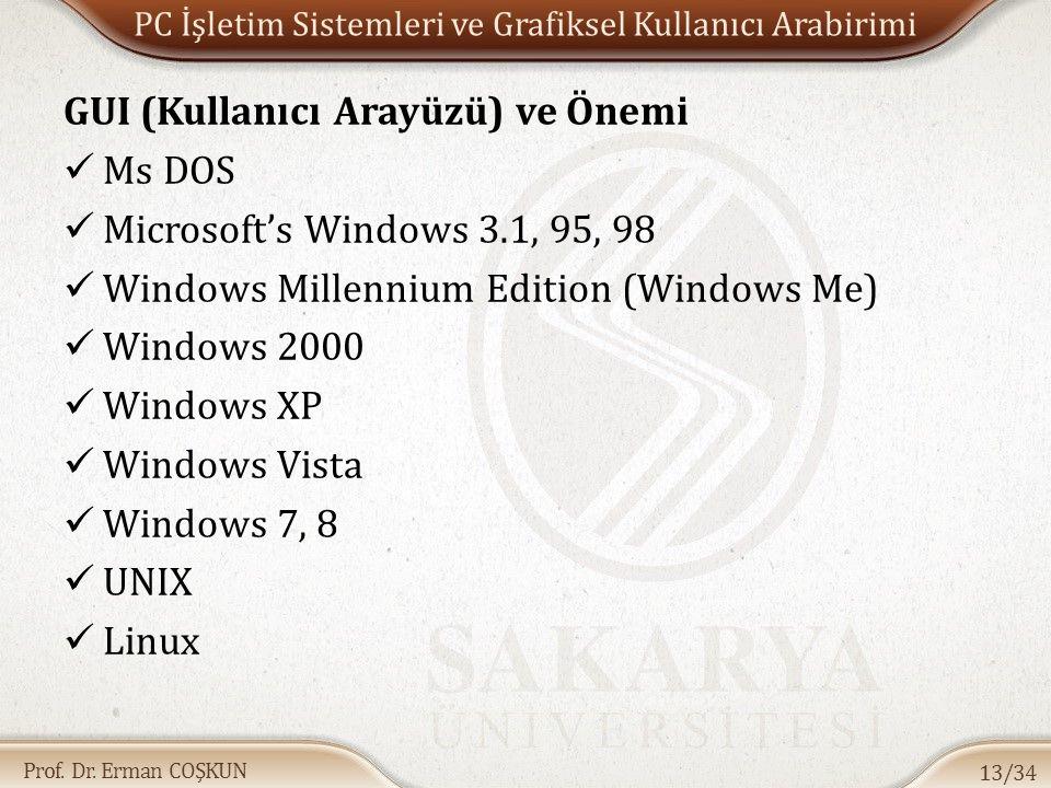 Prof. Dr. Erman COŞKUN PC İşletim Sistemleri ve Grafiksel Kullanıcı Arabirimi GUI (Kullanıcı Arayüzü) ve Önemi Ms DOS Microsoft's Windows 3.1, 95, 98