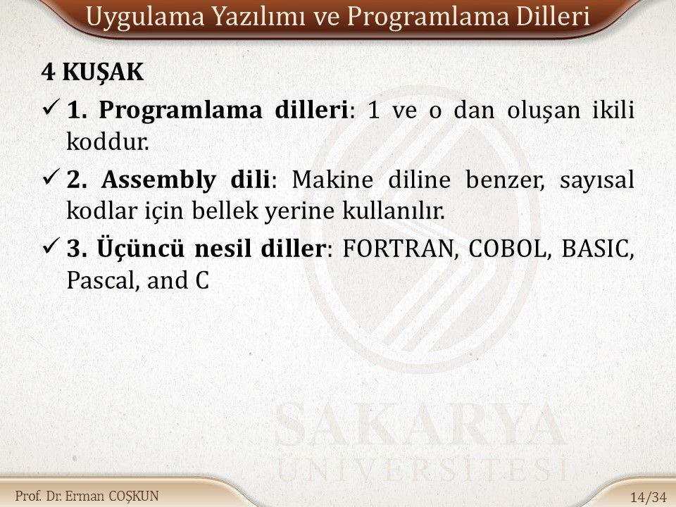 Prof. Dr. Erman COŞKUN Uygulama Yazılımı ve Programlama Dilleri 4 KUŞAK 1. Programlama dilleri: 1 ve o dan oluşan ikili koddur. 2. Assembly dili: Maki