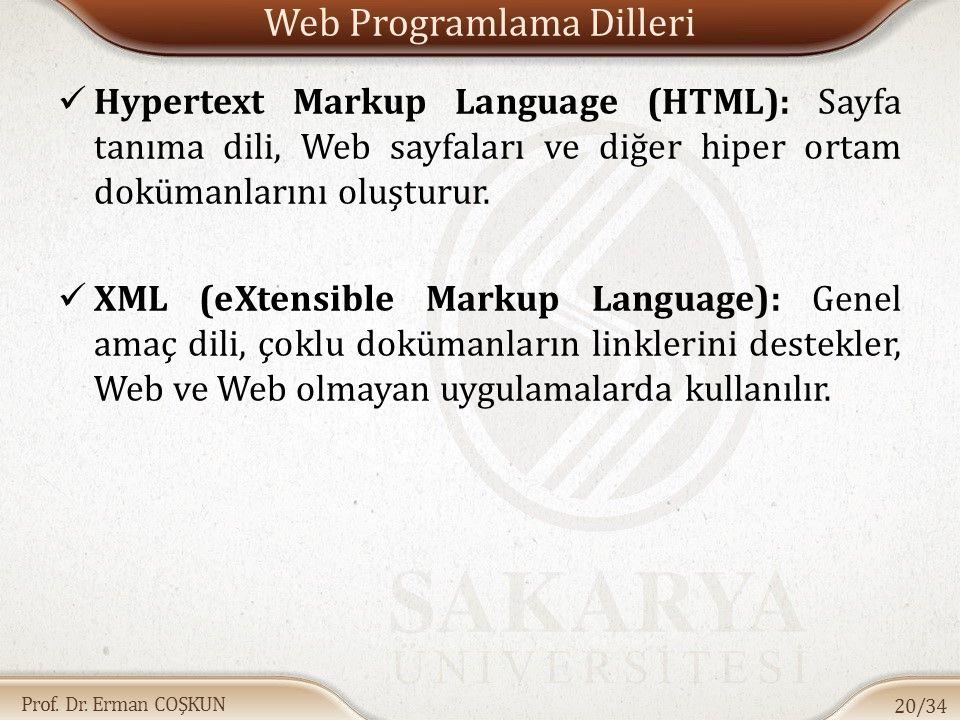 Prof. Dr. Erman COŞKUN Web Programlama Dilleri Hypertext Markup Language (HTML): Sayfa tanıma dili, Web sayfaları ve diğer hiper ortam dokümanlarını o
