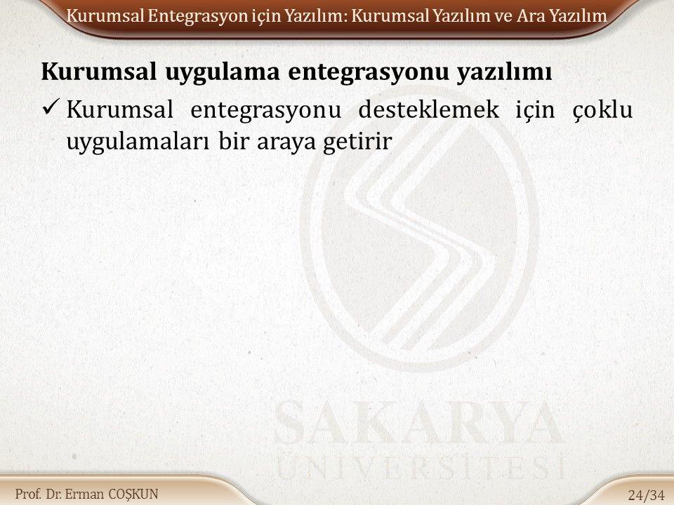 Prof. Dr. Erman COŞKUN Kurumsal Entegrasyon için Yazılım: Kurumsal Yazılım ve Ara Yazılım Kurumsal uygulama entegrasyonu yazılımı Kurumsal entegrasyon