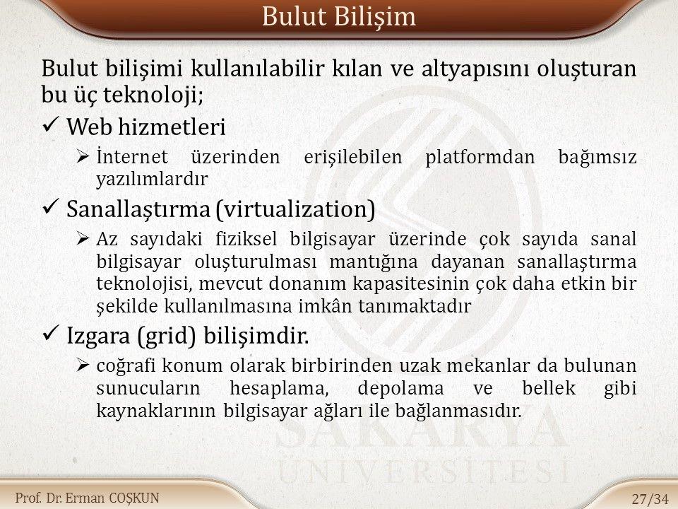 Prof. Dr. Erman COŞKUN Bulut Bilişim Bulut bilişimi kullanılabilir kılan ve altyapısını oluşturan bu üç teknoloji; Web hizmetleri  İnternet üzerinden