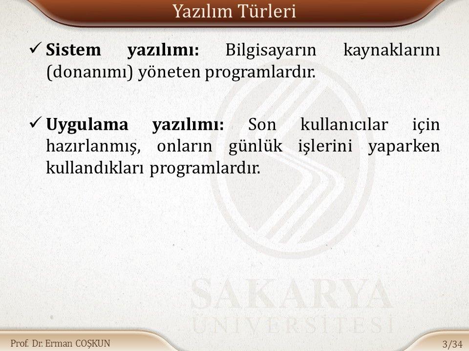 Prof. Dr. Erman COŞKUN Yazılım Türleri Sistem yazılımı: Bilgisayarın kaynaklarını (donanımı) yöneten programlardır. Uygulama yazılımı: Son kullanıcıla