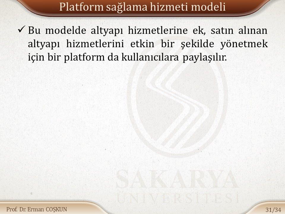 Prof. Dr. Erman COŞKUN Platform sağlama hizmeti modeli Bu modelde altyapı hizmetlerine ek, satın alınan altyapı hizmetlerini etkin bir şekilde yönetme