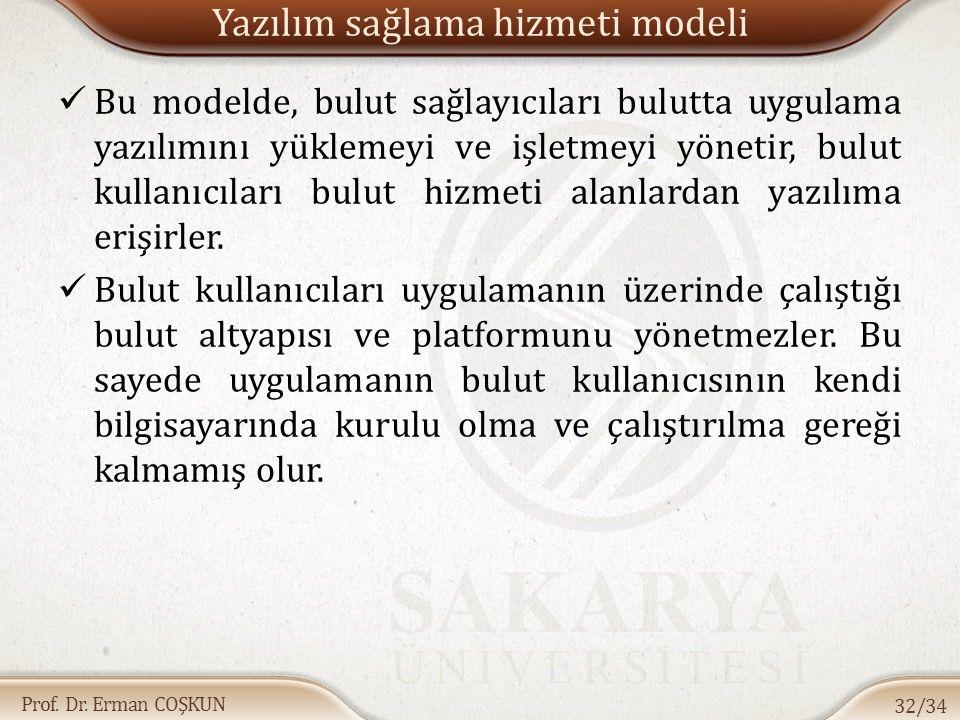 Prof. Dr. Erman COŞKUN Yazılım sağlama hizmeti modeli Bu modelde, bulut sağlayıcıları bulutta uygulama yazılımını yüklemeyi ve işletmeyi yönetir, bulu