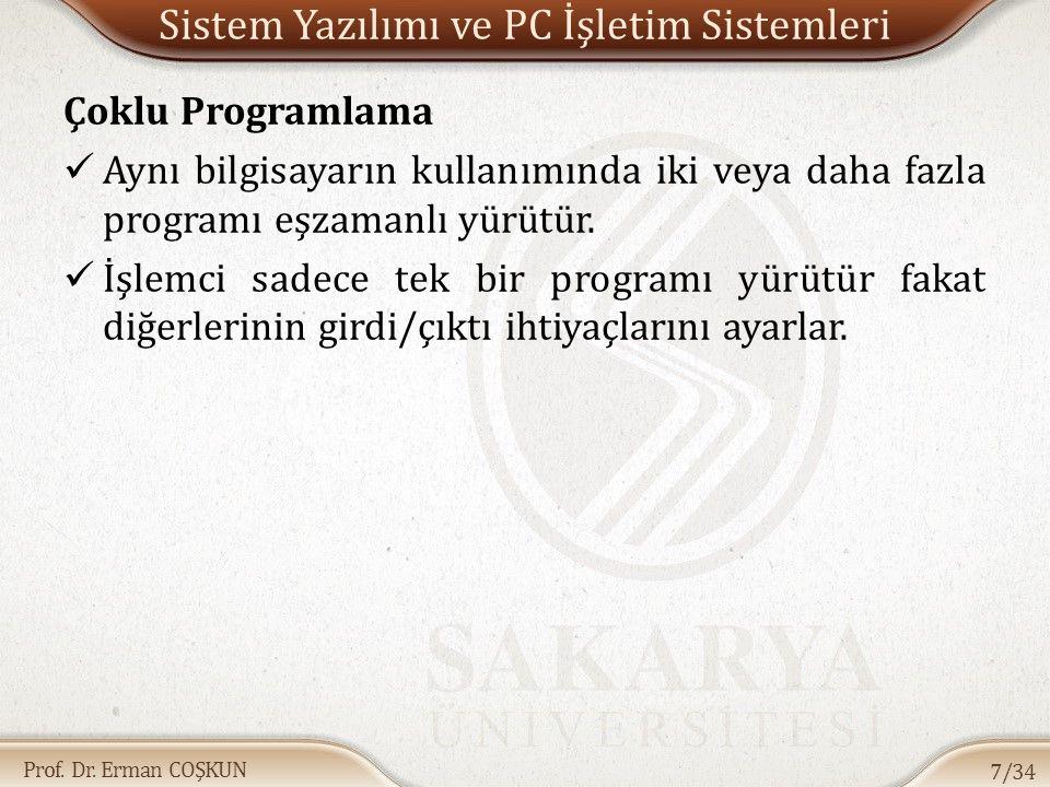 Prof. Dr. Erman COŞKUN Sistem Yazılımı ve PC İşletim Sistemleri Çoklu Programlama Aynı bilgisayarın kullanımında iki veya daha fazla programı eşzamanl