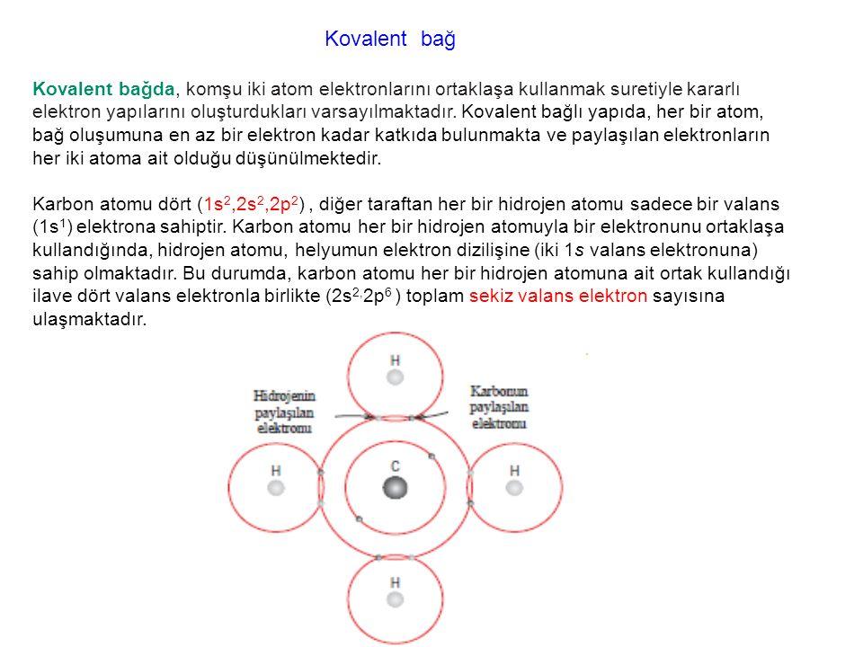 Kovalent bağ Kovalent bağda, komşu iki atom elektronlarını ortaklaşa kullanmak suretiyle kararlı elektron yapılarını oluşturdukları varsayılmaktadır.