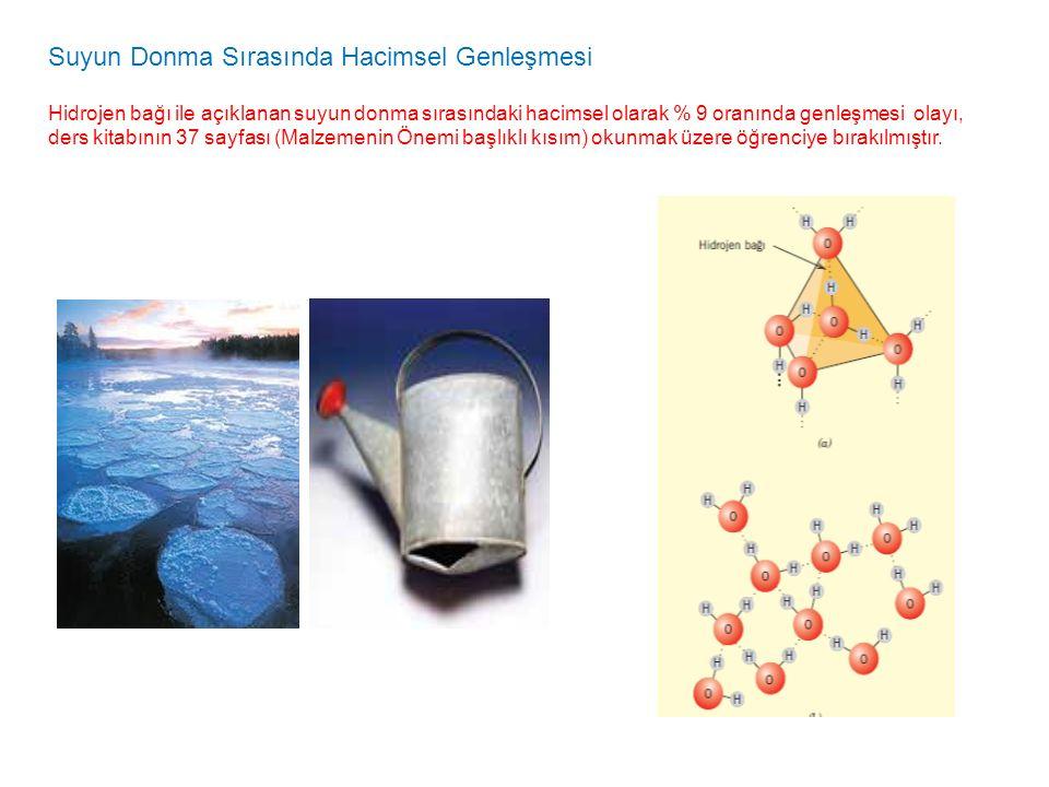 Suyun Donma Sırasında Hacimsel Genleşmesi Hidrojen bağı ile açıklanan suyun donma sırasındaki hacimsel olarak % 9 oranında genleşmesi olayı, ders kita