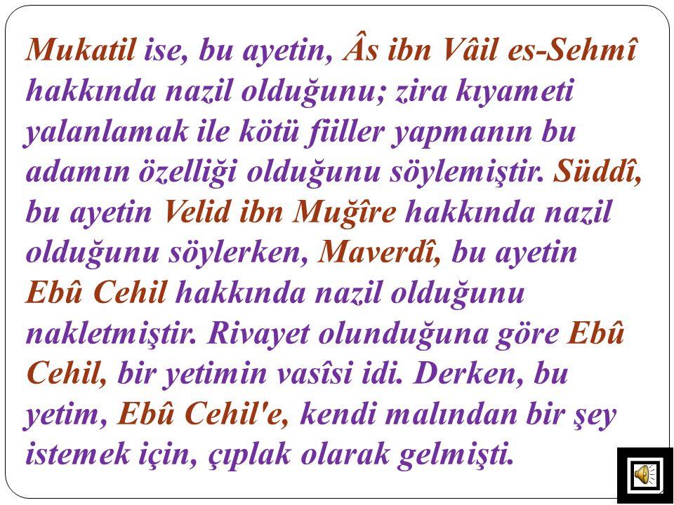 Mukatil ise, bu ayetin, Âs ibn Vâil es-Sehmî hakkında nazil olduğunu; zira kıyameti yalanlamak ile kötü fiiller yapmanın bu adamın özelliği olduğunu s