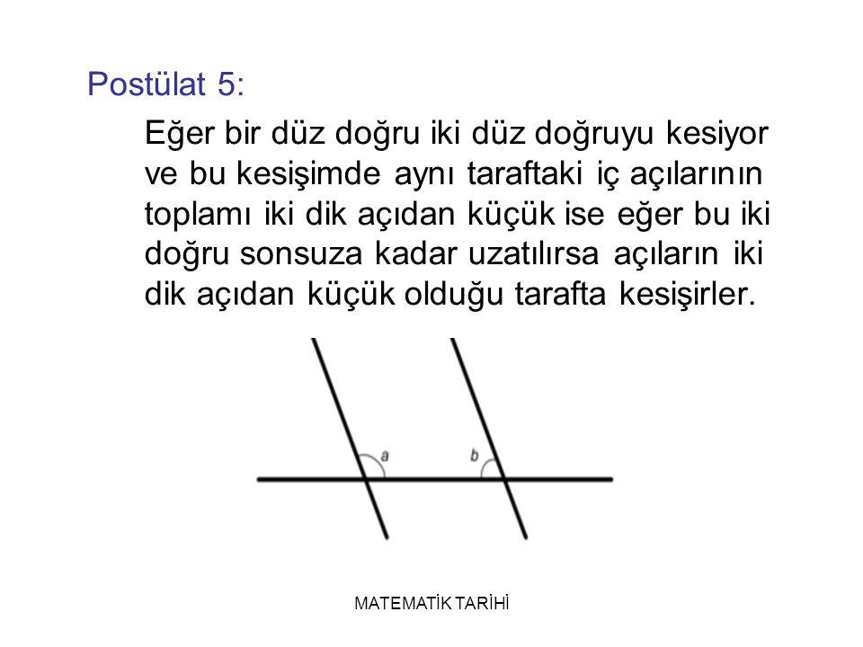 MATEMATİK TARİHİ Postülat 5: Eğer bir düz doğru iki düz doğruyu kesiyor ve bu kesişimde aynı taraftaki iç açılarının toplamı iki dik açıdan küçük ise eğer bu iki doğru sonsuza kadar uzatılırsa açıların iki dik açıdan küçük olduğu tarafta kesişirler.