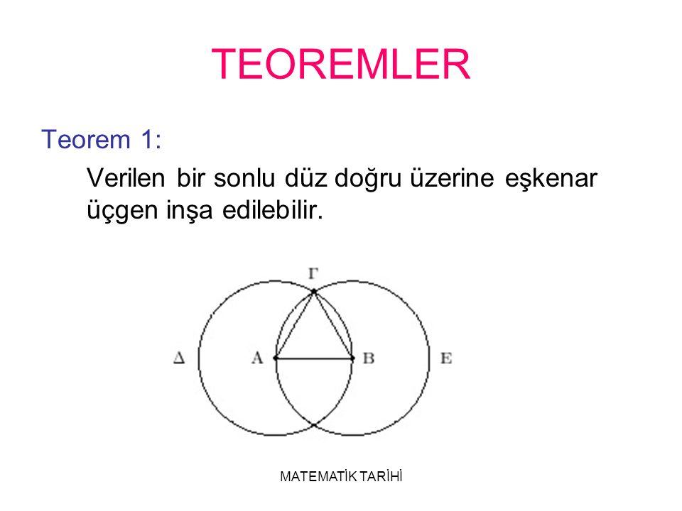 MATEMATİK TARİHİ TEOREMLER Teorem 1: Verilen bir sonlu düz doğru üzerine eşkenar üçgen inşa edilebilir.