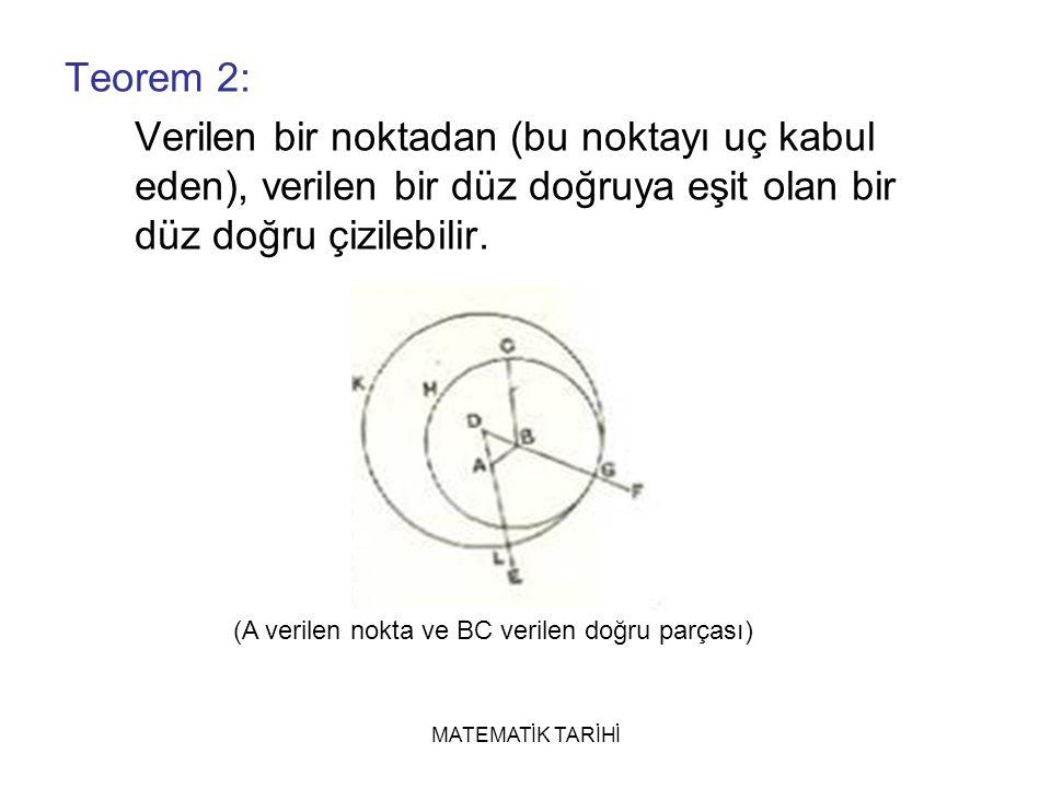 MATEMATİK TARİHİ Teorem 2: Verilen bir noktadan (bu noktayı uç kabul eden), verilen bir düz doğruya eşit olan bir düz doğru çizilebilir.