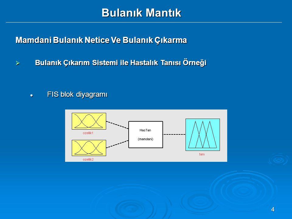 4 Bulanık Mantık Mamdani Bulanık Netice Ve Bulanık Çıkarma  Bulanık Çıkarım Sistemi ile Hastalık Tanısı Örneği FIS blok diyagramı FIS blok diyagramı
