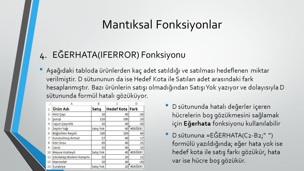 Mantıksal Fonksiyonlar Aşağıdaki tabloda ürünlerden kaç adet satıldığı ve satılması hedeflenen miktar verilmiştir.