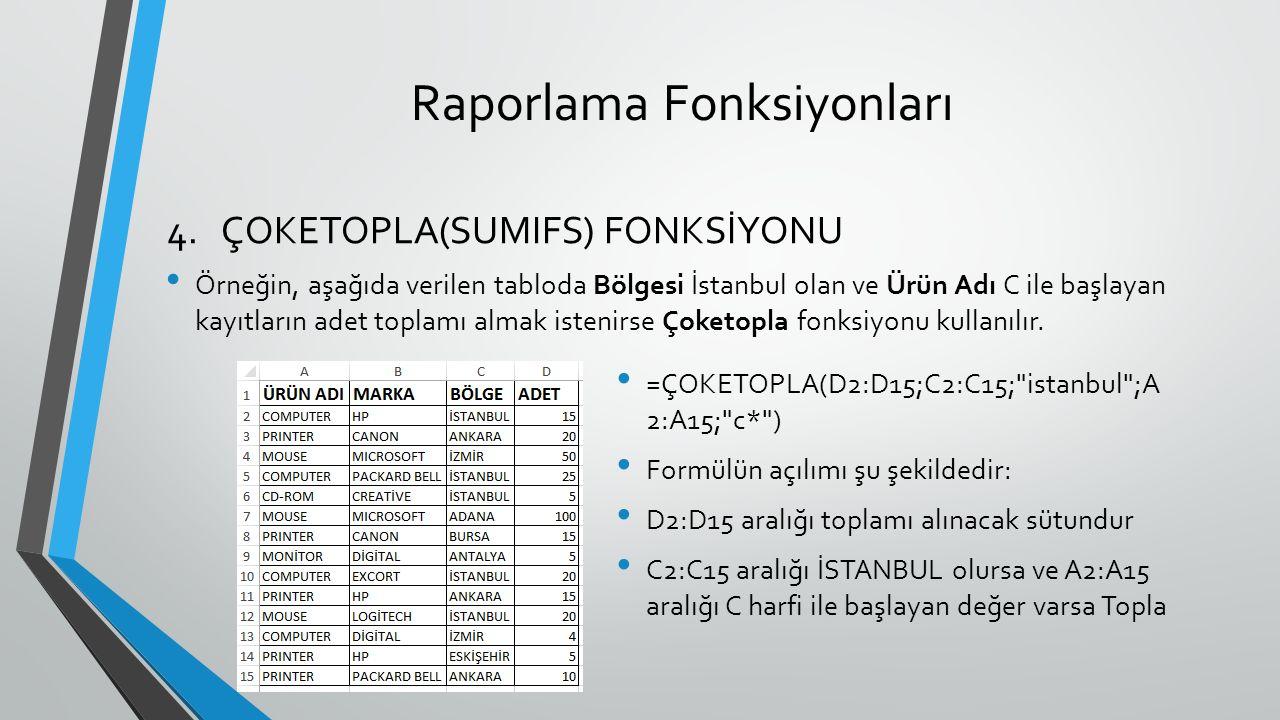 Raporlama Fonksiyonları Örneğin, aşağıda verilen tabloda Bölgesi İstanbul olan ve Ürün Adı C ile başlayan kayıtların adet toplamı almak istenirse Çoketopla fonksiyonu kullanılır.