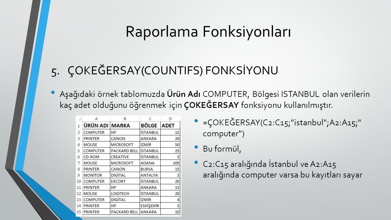 Raporlama Fonksiyonları Aşağıdaki örnek tablomuzda Ürün Adı COMPUTER, Bölgesi ISTANBUL olan verilerin kaç adet olduğunu öğrenmek için ÇOKEĞERSAY fonksiyonu kullanılmıştır.