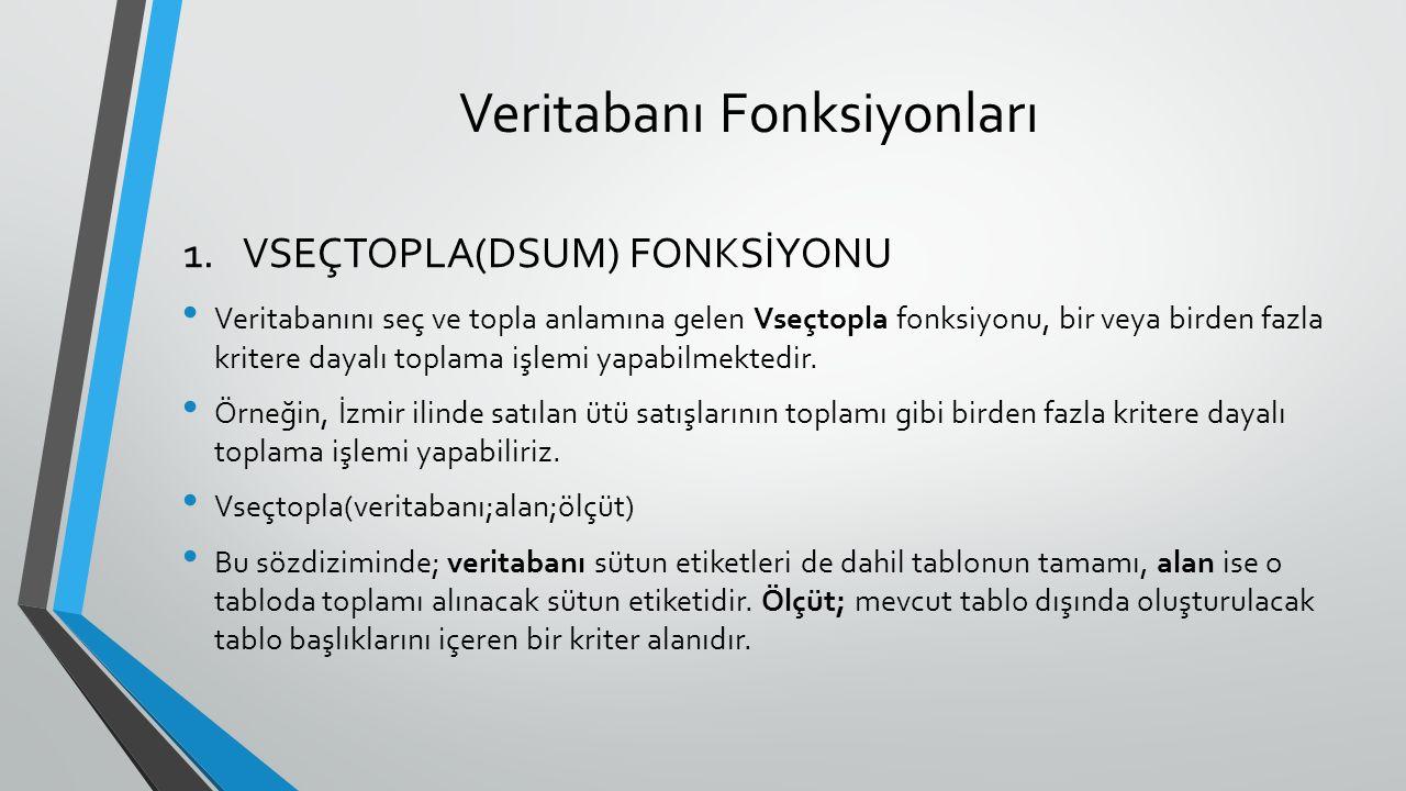 Veritabanı Fonksiyonları Veritabanını seç ve topla anlamına gelen Vseçtopla fonksiyonu, bir veya birden fazla kritere dayalı toplama işlemi yapabilmektedir.