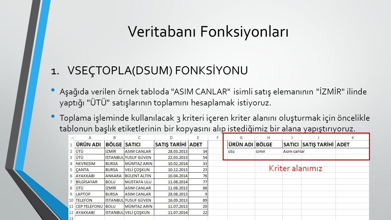 Veritabanı Fonksiyonları Aşağıda verilen örnek tabloda ASIM CANLAR isimli satış elemanının İZMİR ilinde yaptığı ÜTÜ satışlarının toplamını hesaplamak istiyoruz.