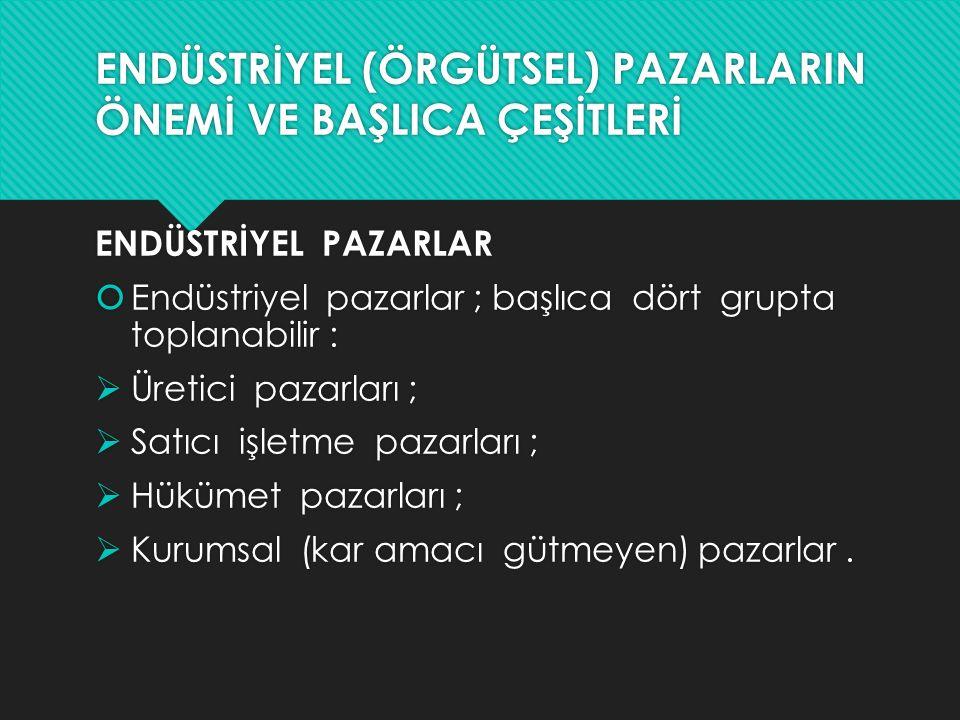 ENDÜSTRİYEL (ÖRGÜTSEL) PAZARLARIN ÖNEMİ VE BAŞLICA ÇEŞİTLERİ ENDÜSTRİYEL PAZARLAR  Endüstriyel pazarlar ; başlıca dört grupta toplanabilir :  Üretic