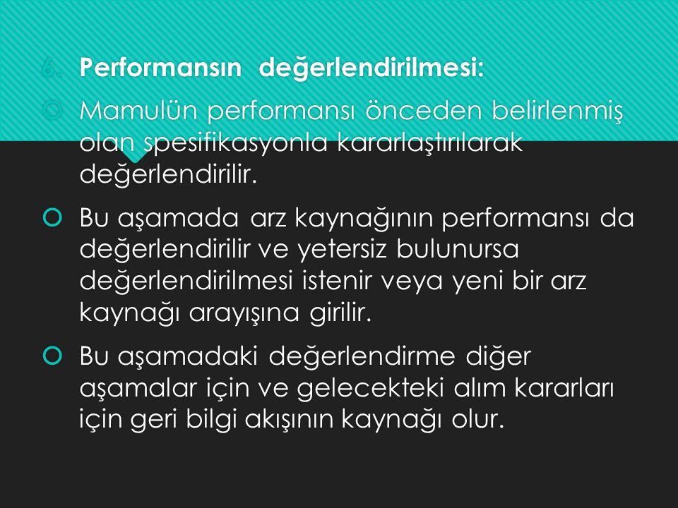 6.Performansın değerlendirilmesi:  Mamulün performansı önceden belirlenmiş olan spesifikasyonla kararlaştırılarak değerlendirilir.  Bu aşamada arz k