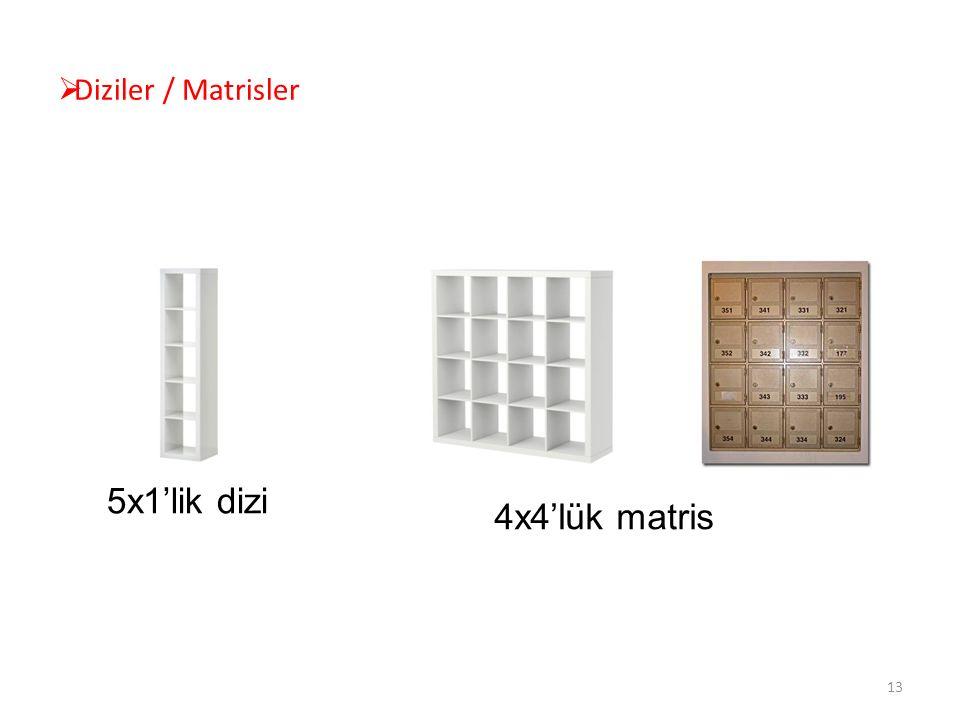  Diziler / Matrisler 5x1'lik dizi 4x4'lük matris 13