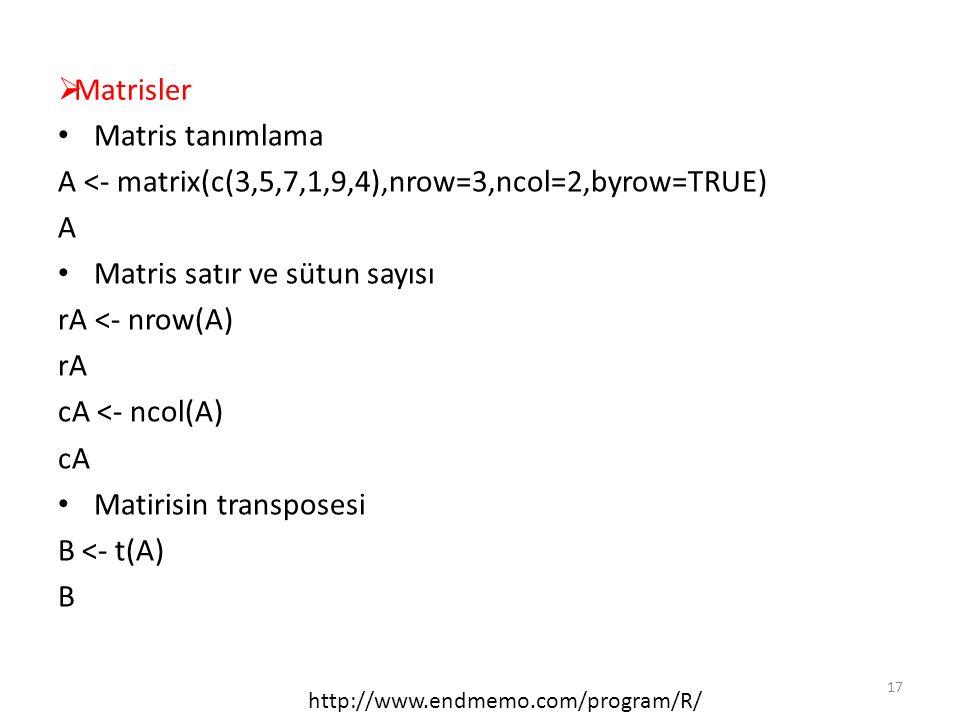  Matrisler Matris tanımlama A <- matrix(c(3,5,7,1,9,4),nrow=3,ncol=2,byrow=TRUE) A Matris satır ve sütun sayısı rA <- nrow(A) rA cA <- ncol(A) cA Mat