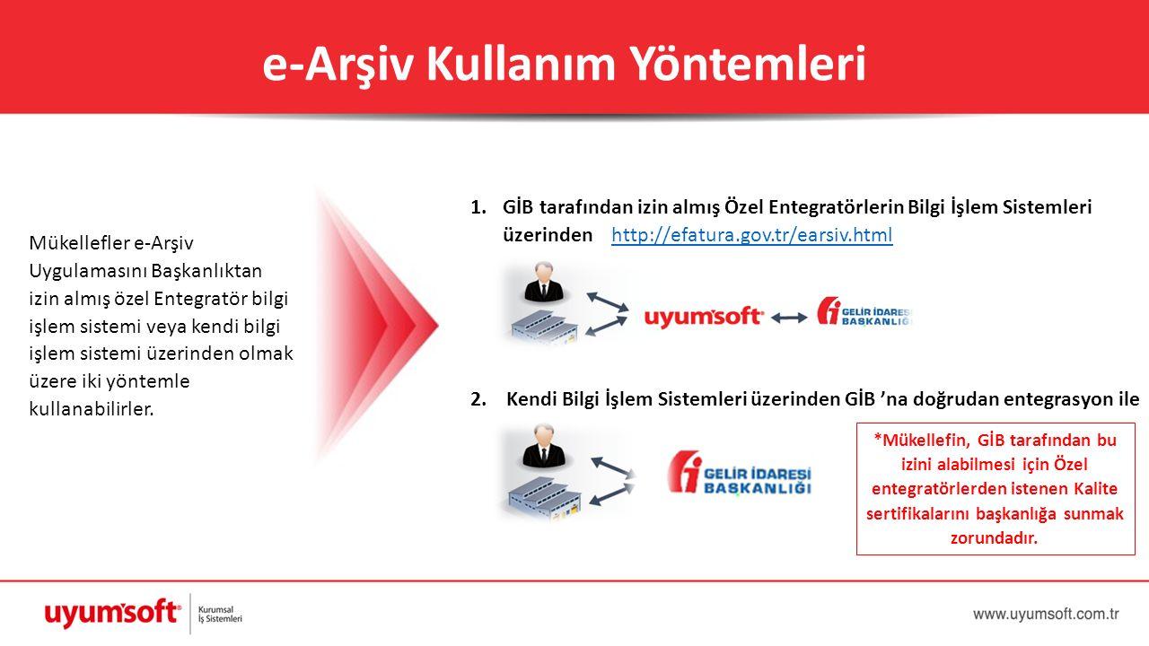 e-Arşiv Kullanım Yöntemleri Mükellefler e-Arşiv Uygulamasını Başkanlıktan izin almış özel Entegratör bilgi işlem sistemi veya kendi bilgi işlem sistem