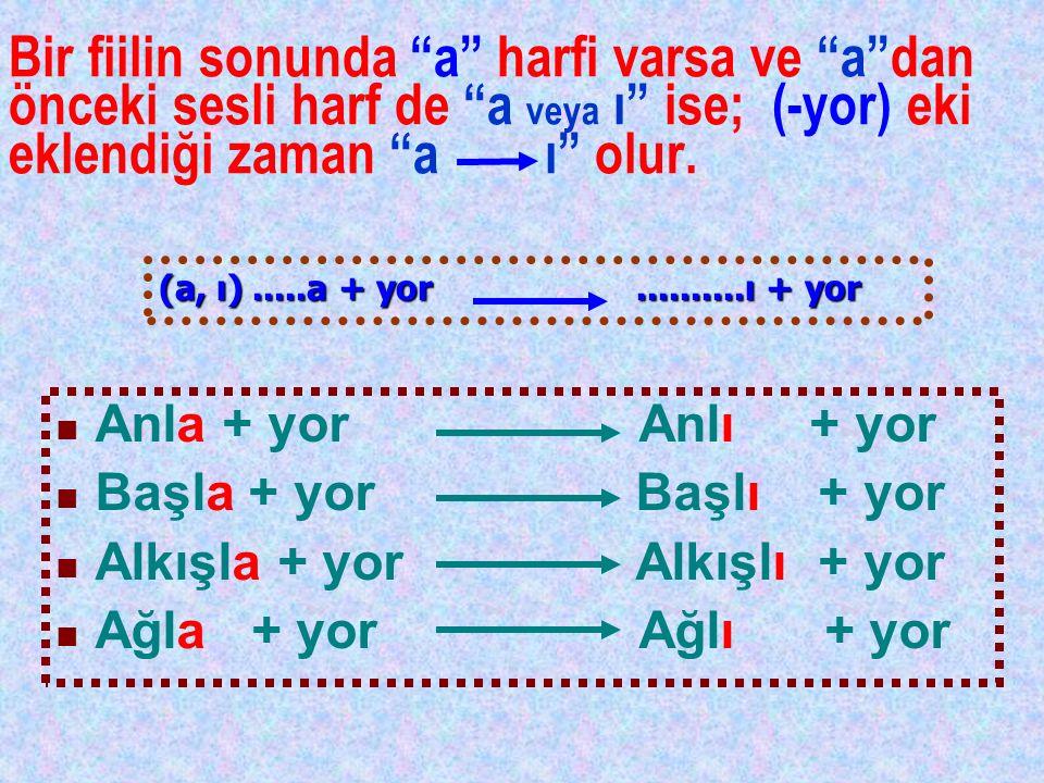 """Bir fiilin sonunda """"a"""" harfi varsa ve """"a""""dan önceki sesli harf de """"a veya ı"""" ise; (-yor) eki eklendiği zaman """"a ı"""" olur. Anla + yor Anlı + yor Başla +"""