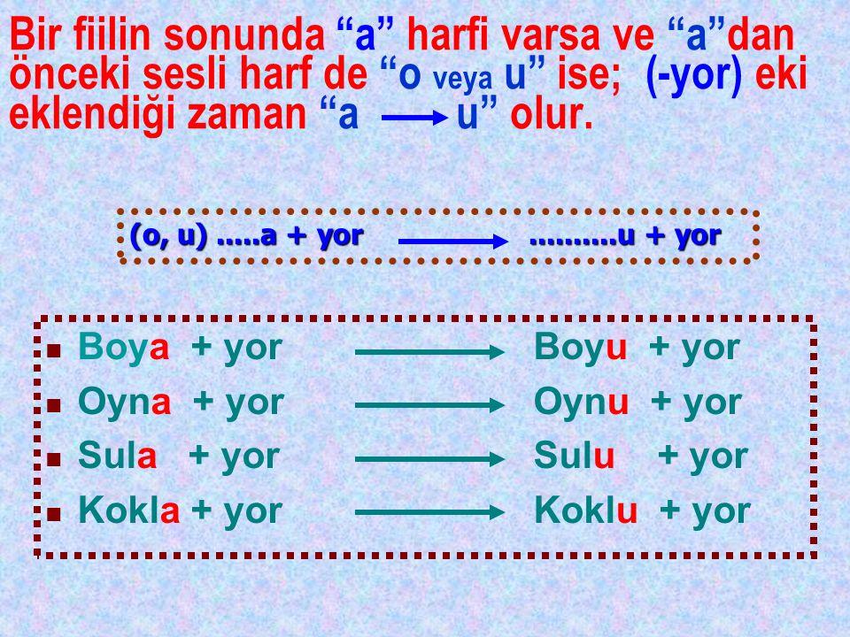 """Bir fiilin sonunda """"a"""" harfi varsa ve """"a""""dan önceki sesli harf de """"o veya u"""" ise; (-yor) eki eklendiği zaman """"a u"""" olur. Boya + yor Boyu + yor Oyna +"""