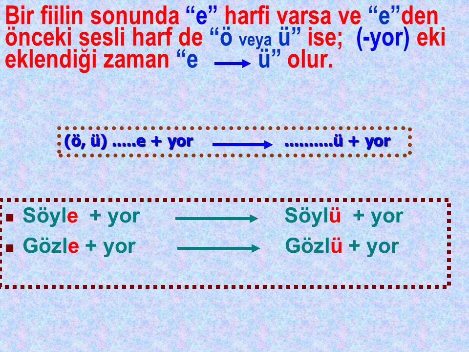 """Bir fiilin sonunda """"e"""" harfi varsa ve """"e""""den önceki sesli harf de """"ö veya ü"""" ise; (-yor) eki eklendiği zaman """"e ü"""" olur. Söyle + yor Söylü + yor Gözle"""
