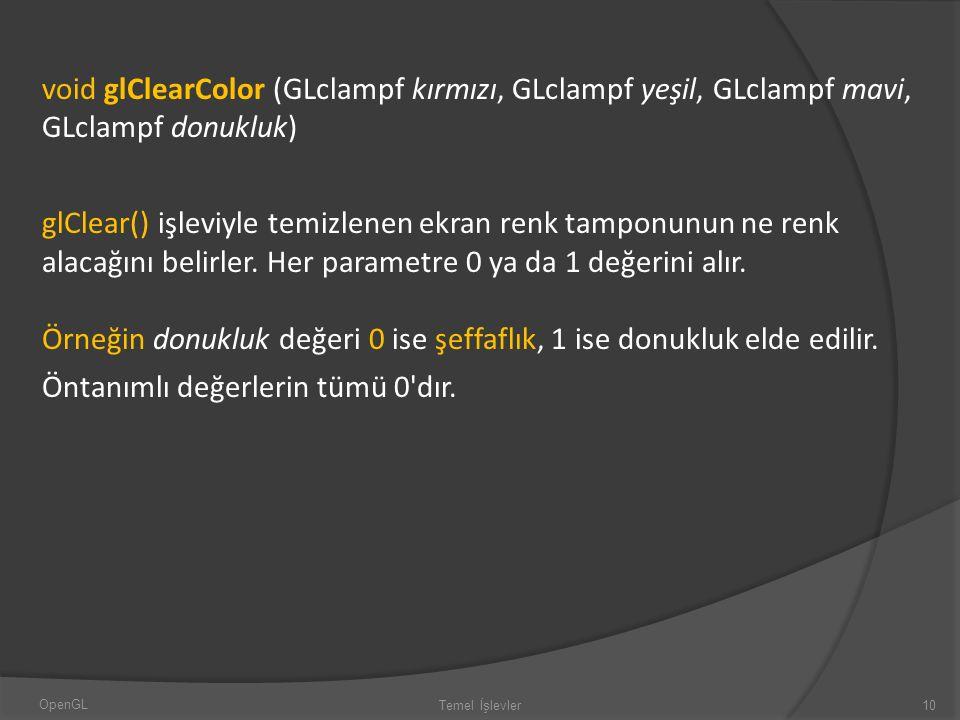 void glClearColor (GLclampf kırmızı, GLclampf yeşil, GLclampf mavi, GLclampf donukluk) glClear() işleviyle temizlenen ekran renk tamponunun ne renk al
