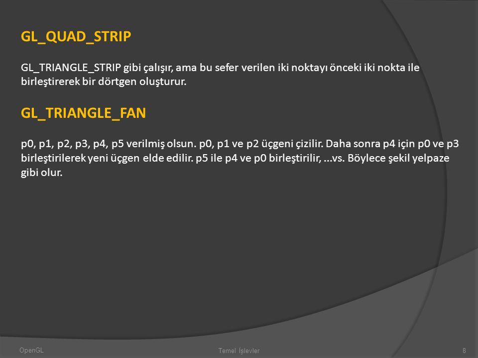 GL_QUAD_STRIP GL_TRIANGLE_STRIP gibi çalışır, ama bu sefer verilen iki noktayı önceki iki nokta ile birleştirerek bir dörtgen oluşturur. GL_TRIANGLE_F