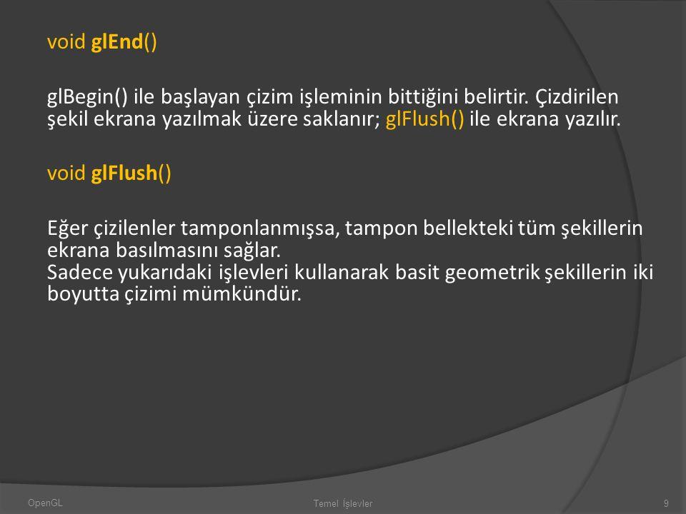 void glEnd() glBegin() ile başlayan çizim işleminin bittiğini belirtir. Çizdirilen şekil ekrana yazılmak üzere saklanır; glFlush() ile ekrana yazılır.